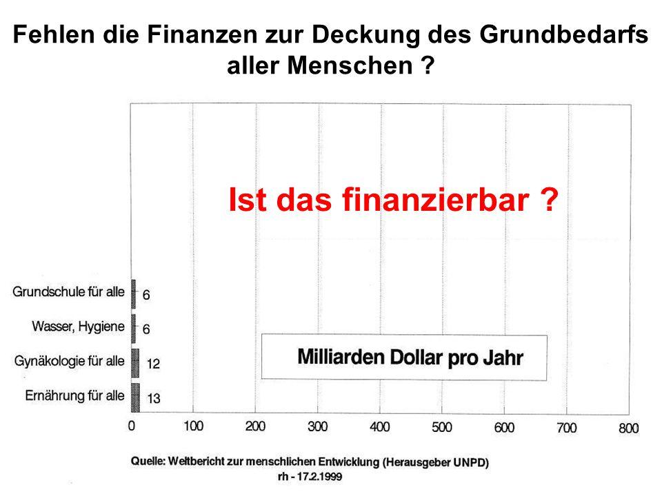 Ist das finanzierbar ? Fehlen die Finanzen zur Deckung des Grundbedarfs aller Menschen ?
