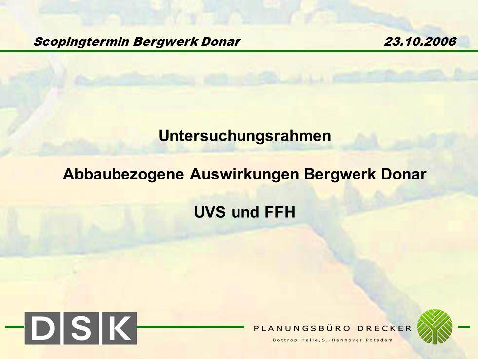 Scopingtermin Bergwerk Donar 23.10.2006 Untersuchungsrahmen Abbaubezogene Auswirkungen Bergwerk Donar UVS und FFH