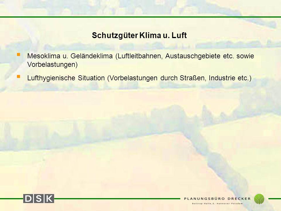 Schutzgüter Klima u. Luft  Mesoklima u. Geländeklima (Luftleitbahnen, Austauschgebiete etc. sowie Vorbelastungen)  Lufthygienische Situation (Vorbel