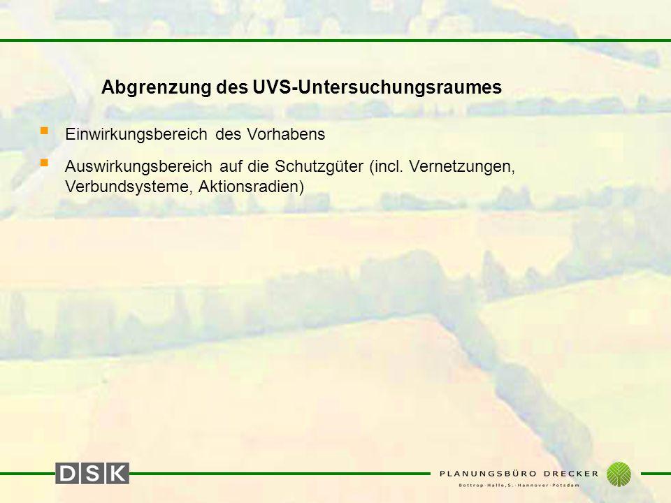 Abgrenzung des UVS-Untersuchungsraumes  Einwirkungsbereich des Vorhabens  Auswirkungsbereich auf die Schutzgüter (incl. Vernetzungen, Verbundsysteme