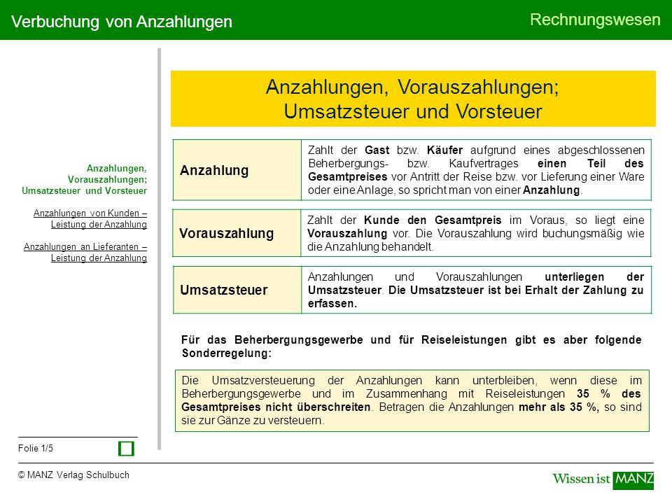© MANZ Verlag Schulbuch Rechnungswesen Folie 1/5 Verbuchung von Anzahlungen Anzahlungen, Vorauszahlungen; Umsatzsteuer und Vorsteuer Umsatzsteuer Anza
