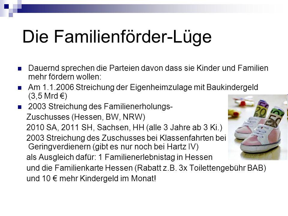 Die Familienförder-Lüge Dauernd sprechen die Parteien davon dass sie Kinder und Familien mehr fördern wollen: Am 1.1.2006 Streichung der Eigenheimzulage mit Baukindergeld (3,5 Mrd €) 2003 Streichung des Familienerholungs- Zuschusses (Hessen, BW, NRW) 2010 SA, 2011 SH, Sachsen, HH (alle 3 Jahre ab 3 Ki.) 2003 Streichung des Zuschusses bei Klassenfahrten bei Geringverdienern (gibt es nur noch bei Hartz IV) als Ausgleich dafür: 1 Familienerlebnistag in Hessen und die Familienkarte Hessen (Rabatt z.B.