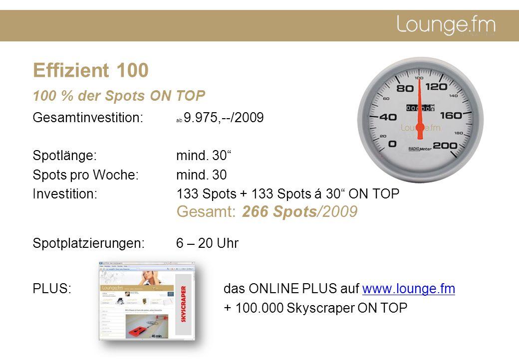 Effizient 100 Gesamtinvestition: ab 9.975,--/2009 Spotlänge: mind.
