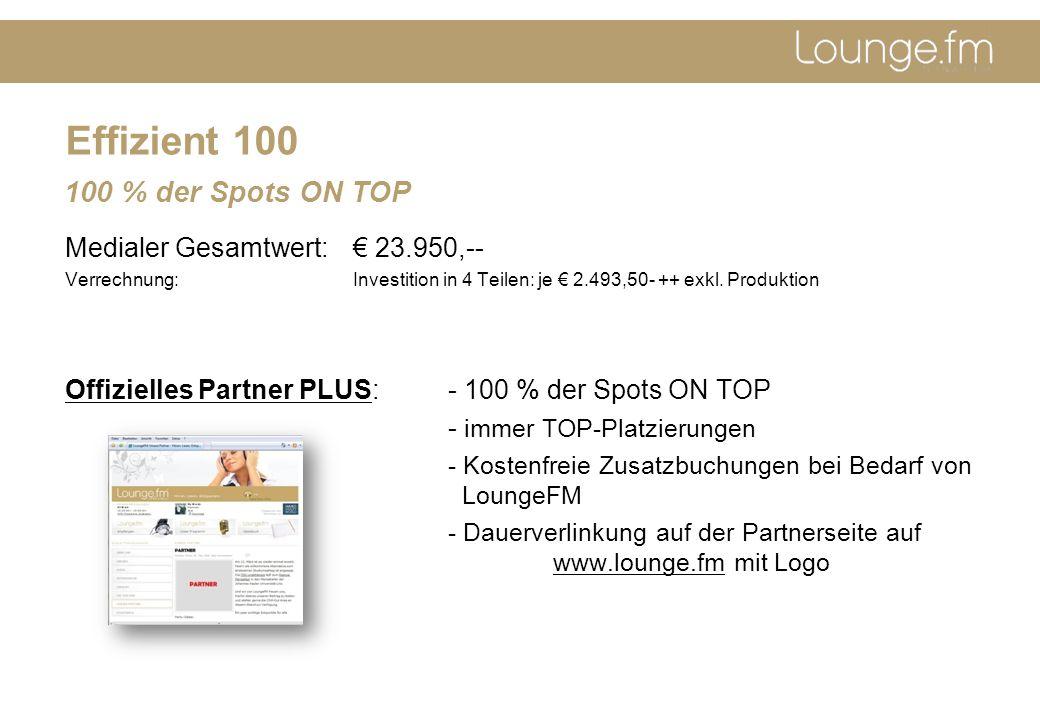 Effizient 100 Medialer Gesamtwert:€ 23.950,-- Verrechnung: Investition in 4 Teilen: je € 2.493,50- ++ exkl.