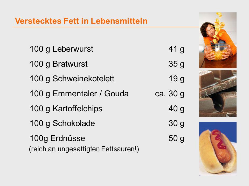 100 g Leberwurst 41 g 100 g Bratwurst 35 g 100 g Schweinekotelett 19 g 100 g Emmentaler / Gouda ca. 30 g 100 g Kartoffelchips40 g 100 g Schokolade30 g