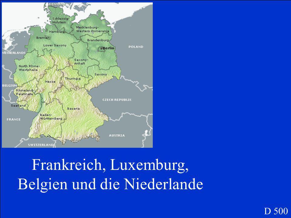 Welche vier Nachbarländer liegen im Westen von Deutschland D 500