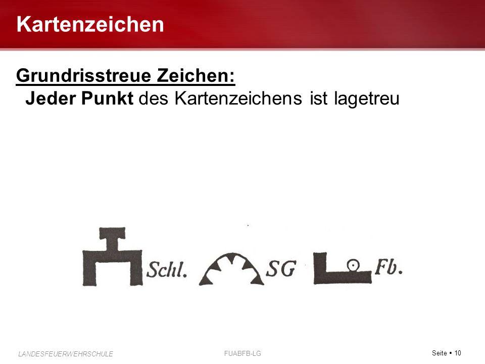Seite  10 LANDESFEUERWEHRSCHULE FUABFB-LG Kartenzeichen Grundrisstreue Zeichen: Jeder Punkt des Kartenzeichens ist lagetreu