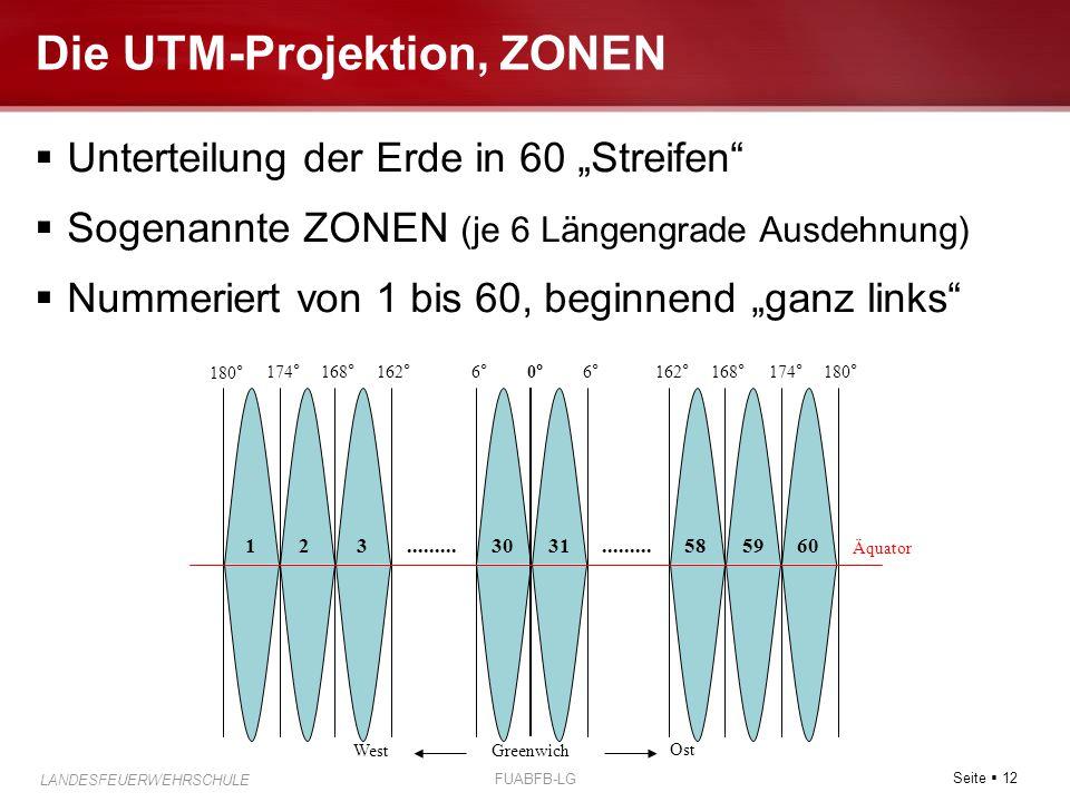 """Seite  12 LANDESFEUERWEHRSCHULE FUABFB-LG Die UTM-Projektion, ZONEN  Unterteilung der Erde in 60 """"Streifen""""  Sogenannte ZONEN (je 6 Längengrade Aus"""