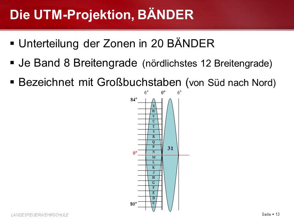 Seite  13 LANDESFEUERWEHRSCHULE FUABFB-LG Die UTM-Projektion, BÄNDER  Unterteilung der Zonen in 20 BÄNDER  Je Band 8 Breitengrade (nördlichstes 12