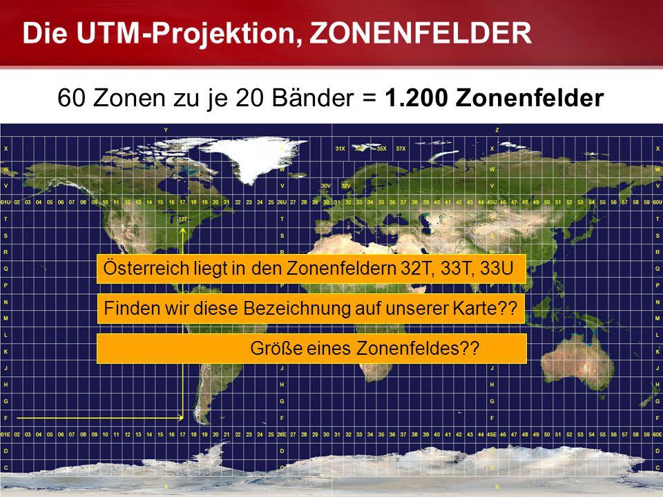 Seite  14 LANDESFEUERWEHRSCHULE FUABFB-LG Die UTM-Projektion, ZONENFELDER 60 Zonen zu je 20 Bänder = 1.200 Zonenfelder Österreich liegt in den Zonenf