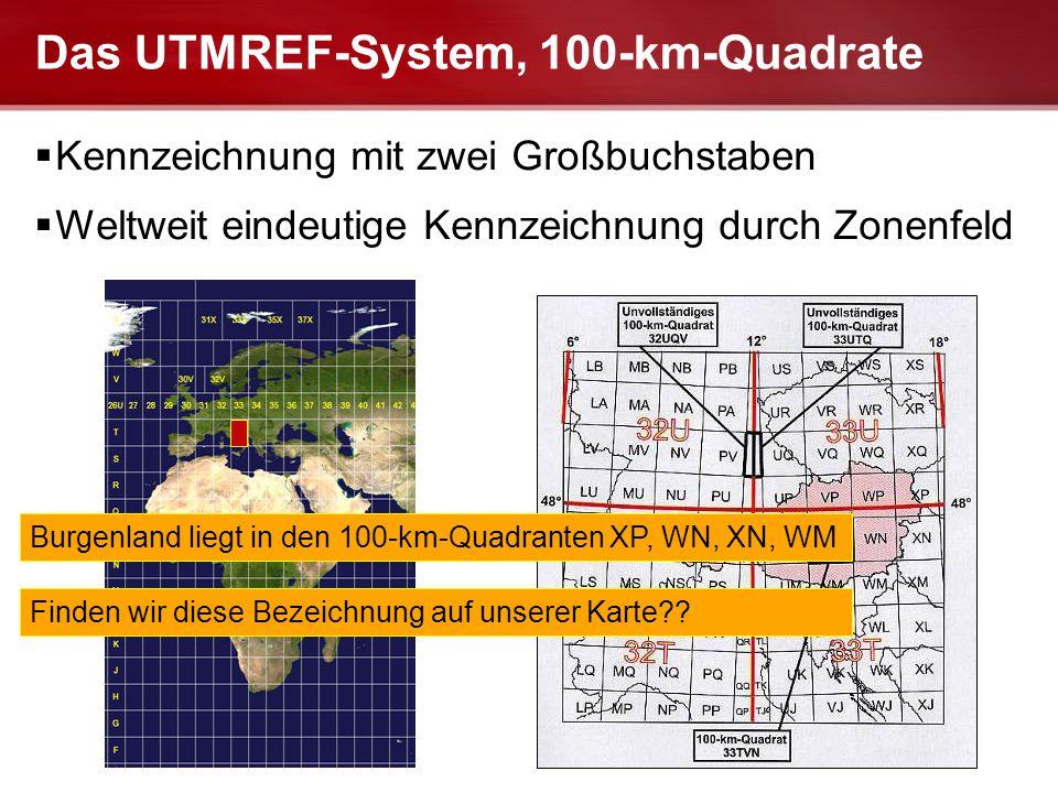 Seite  17 LANDESFEUERWEHRSCHULE FUABFB-LG Das UTMREF-System, 100-km-Quadrate  Kennzeichnung mit zwei Großbuchstaben  Weltweit eindeutige Kennzeichn