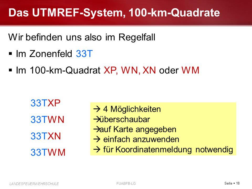 Seite  18 LANDESFEUERWEHRSCHULE FUABFB-LG Das UTMREF-System, 100-km-Quadrate Wir befinden uns also im Regelfall  Im Zonenfeld 33T  Im 100-km-Quadra