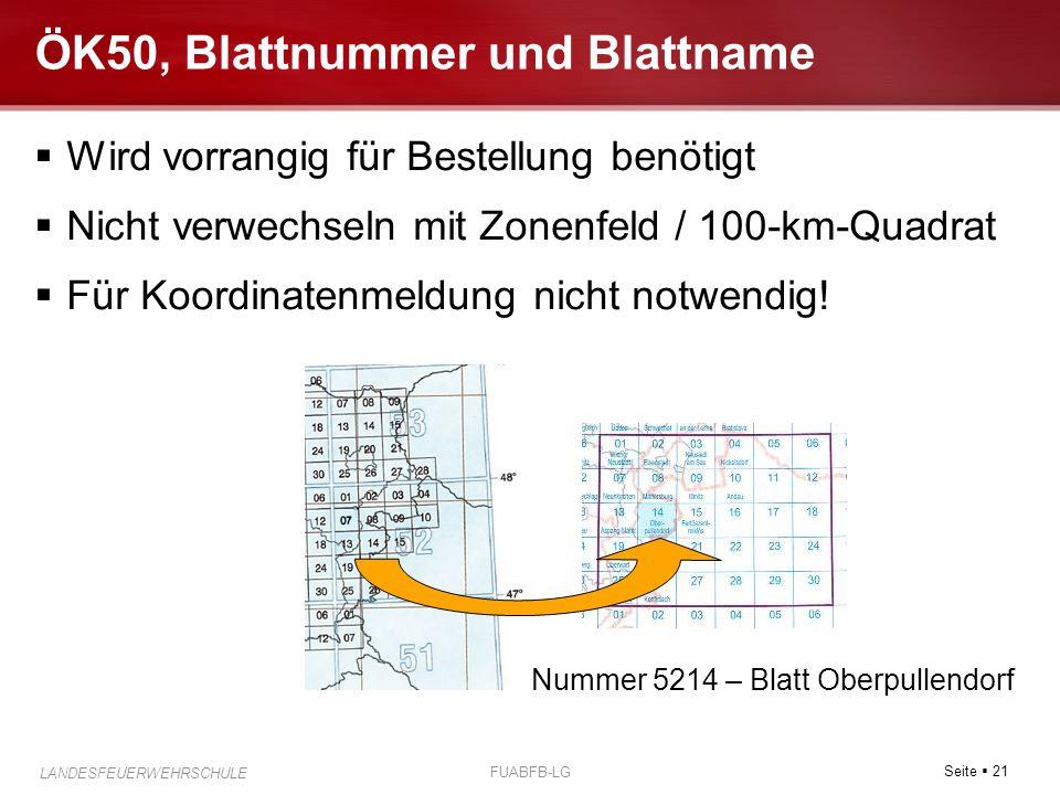 Seite  21 LANDESFEUERWEHRSCHULE FUABFB-LG ÖK50, Blattnummer und Blattname  Wird vorrangig für Bestellung benötigt  Nicht verwechseln mit Zonenfeld