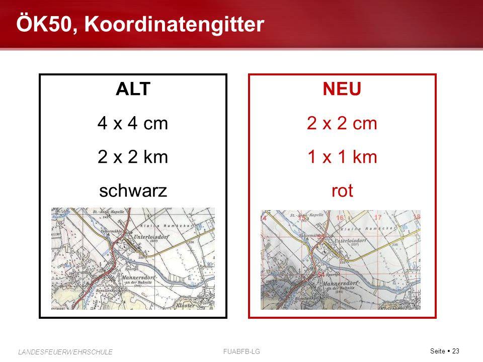 Seite  23 LANDESFEUERWEHRSCHULE FUABFB-LG ÖK50, Koordinatengitter ALT 4 x 4 cm 2 x 2 km schwarz NEU 2 x 2 cm 1 x 1 km rot