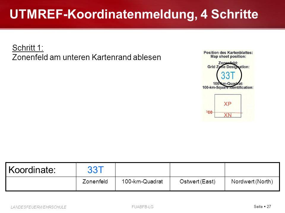 Seite  27 LANDESFEUERWEHRSCHULE FUABFB-LG UTMREF-Koordinatenmeldung, 4 Schritte Nordwert (North)Ostwert (East)100-km-QuadratZonenfeld 33TKoordinate: