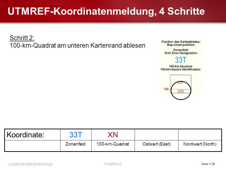 Seite  28 LANDESFEUERWEHRSCHULE FUABFB-LG UTMREF-Koordinatenmeldung, 4 Schritte Nordwert (North)Ostwert (East)100-km-QuadratZonenfeld XN33TKoordinate