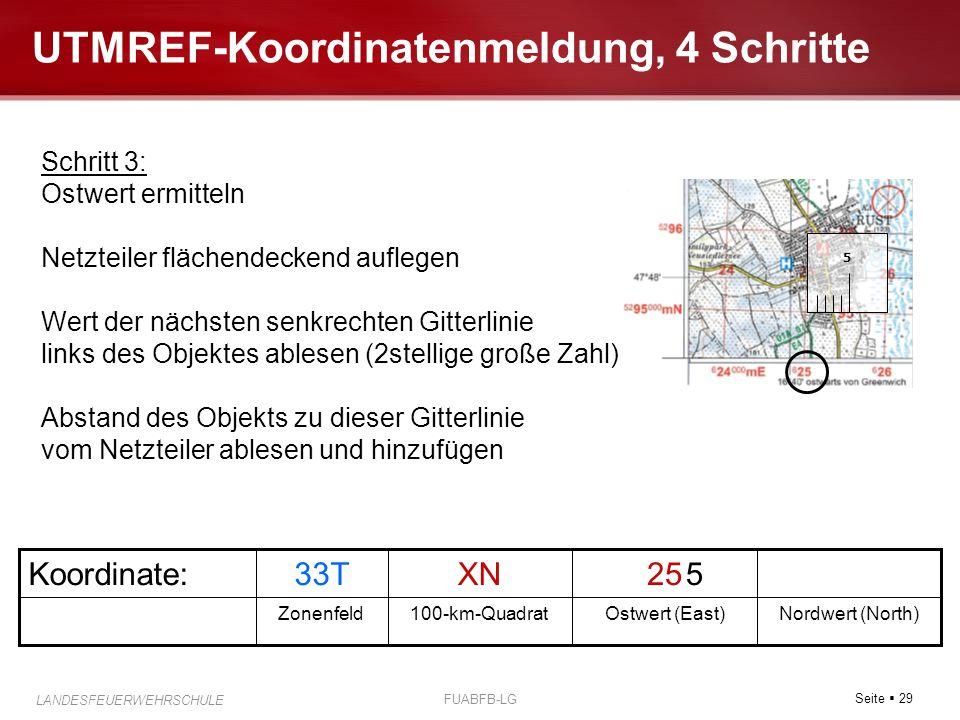 Seite  29 LANDESFEUERWEHRSCHULE FUABFB-LG UTMREF-Koordinatenmeldung, 4 Schritte Nordwert (North)Ostwert (East)100-km-QuadratZonenfeld 25XN33TKoordina