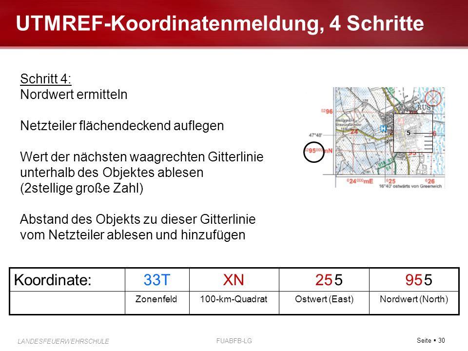 Seite  30 LANDESFEUERWEHRSCHULE FUABFB-LG UTMREF-Koordinatenmeldung, 4 Schritte Nordwert (North)Ostwert (East)100-km-QuadratZonenfeld 9525XN33TKoordi