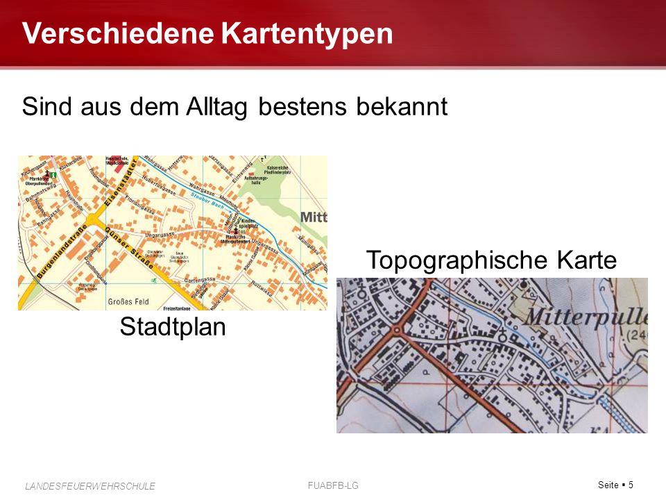 Seite  5 LANDESFEUERWEHRSCHULE FUABFB-LG Verschiedene Kartentypen Sind aus dem Alltag bestens bekannt Stadtplan Topographische Karte
