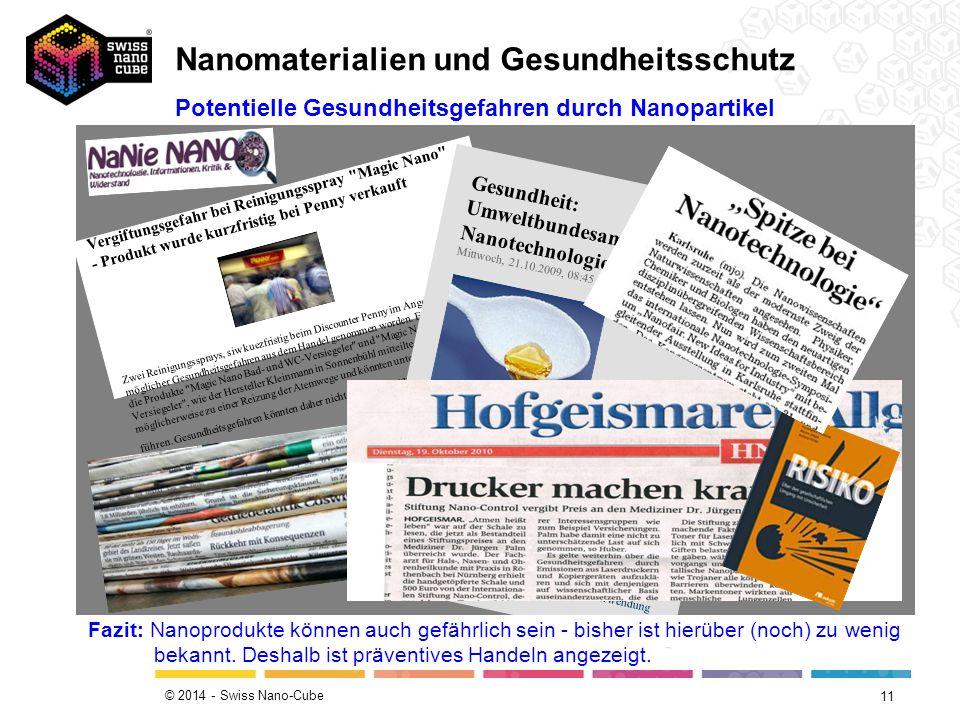 © 2014 - Swiss Nano-Cube 11 Potentielle Gesundheitsgefahren durch Nanopartikel Vergiftungsgefahr bei Reinigungsspray
