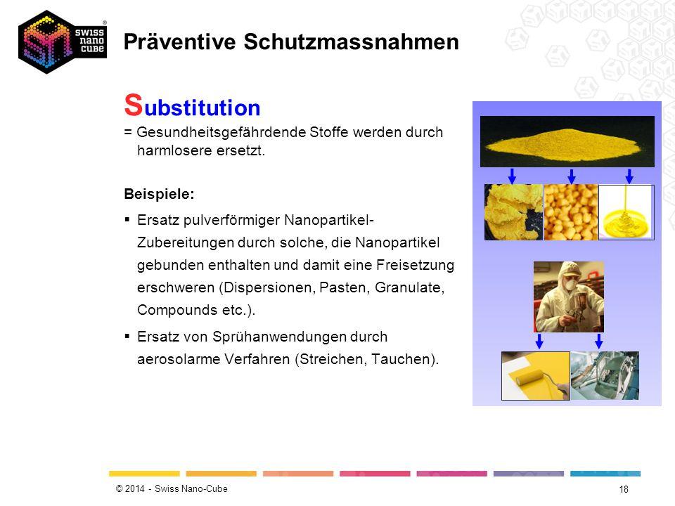 © 2014 - Swiss Nano-Cube 18 S ubstitution = Gesundheitsgefährdende Stoffe werden durch harmlosere ersetzt. Beispiele:  Ersatz pulverförmiger Nanopart