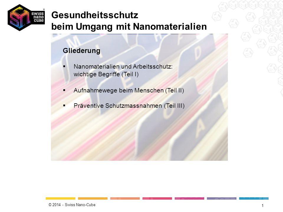 © 2014 - Swiss Nano-Cube Gesundheitsschutz beim Umgang mit Nanomaterialien 1 Gliederung  Nanomaterialien und Arbeitsschutz: wichtige Begriffe (Teil I)  Aufnahmewege beim Menschen (Teil II)  Präventive Schutzmassnahmen (Teil III)