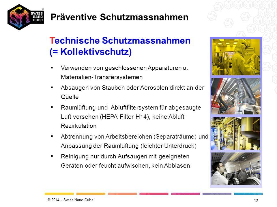 © 2014 - Swiss Nano-Cube 19 Technische Schutzmassnahmen (= Kollektivschutz)  Verwenden von geschlossenen Apparaturen u. Materialien-Transfersystemen