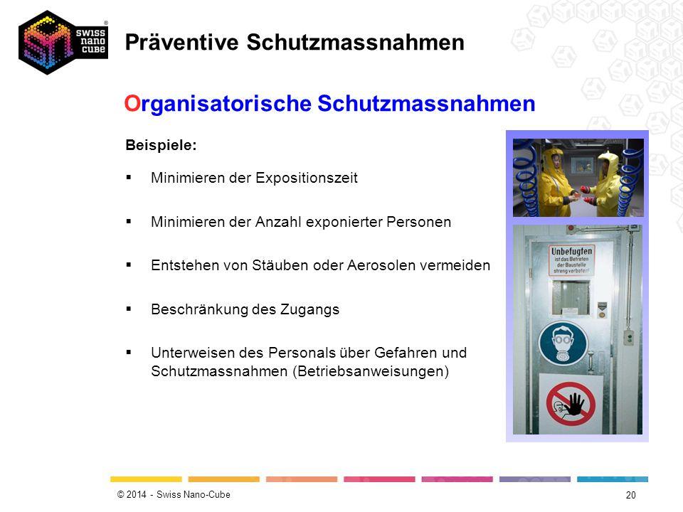 © 2014 - Swiss Nano-Cube 20 Beispiele:  Minimieren der Expositionszeit  Minimieren der Anzahl exponierter Personen  Entstehen von Stäuben oder Aerosolen vermeiden  Beschränkung des Zugangs  Unterweisen des Personals über Gefahren und Schutzmassnahmen (Betriebsanweisungen) Organisatorische Schutzmassnahmen Präventive Schutzmassnahmen