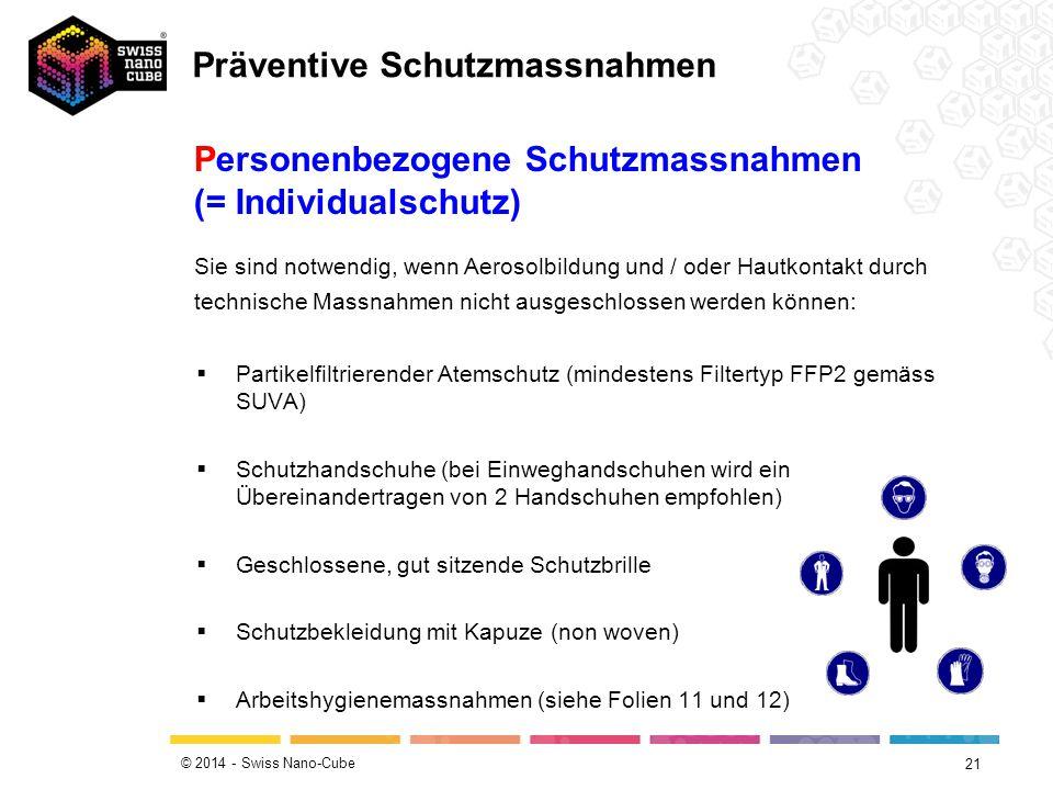 © 2014 - Swiss Nano-Cube 21  Partikelfiltrierender Atemschutz (mindestens Filtertyp FFP2 gemäss SUVA)  Schutzhandschuhe (bei Einweghandschuhen wird ein Übereinandertragen von 2 Handschuhen empfohlen)  Geschlossene, gut sitzende Schutzbrille  Schutzbekleidung mit Kapuze (non woven)  Arbeitshygienemassnahmen (siehe Folien 11 und 12) Personenbezogene Schutzmassnahmen (= Individualschutz) Sie sind notwendig, wenn Aerosolbildung und / oder Hautkontakt durch technische Massnahmen nicht ausgeschlossen werden können: Präventive Schutzmassnahmen