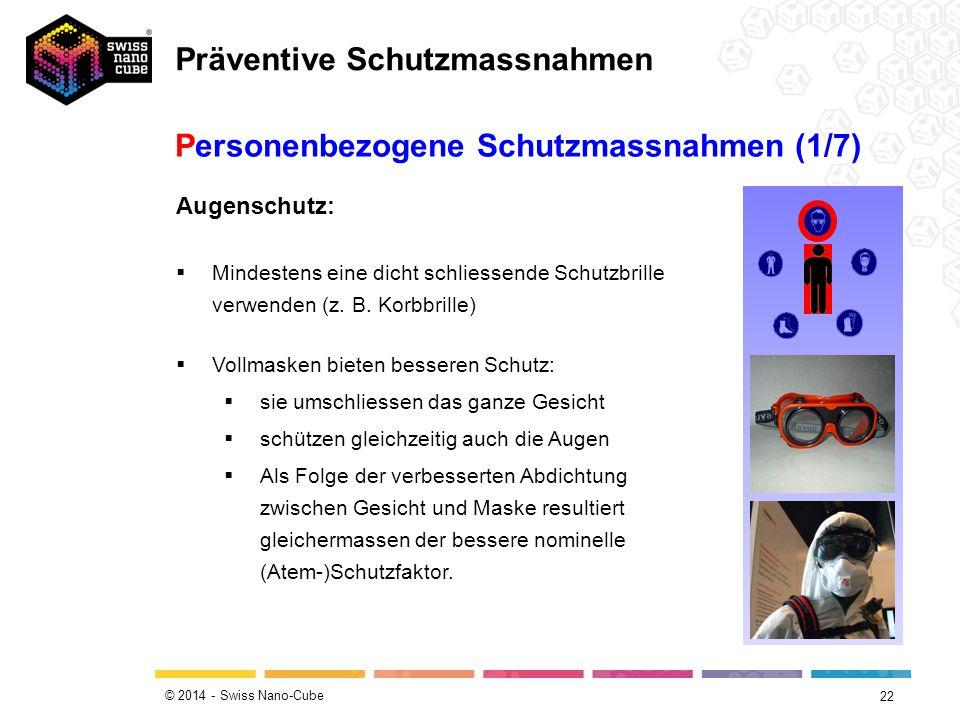 © 2014 - Swiss Nano-Cube 22 Personenbezogene Schutzmassnahmen (1/7) Augenschutz:  Mindestens eine dicht schliessende Schutzbrille verwenden (z. B. Ko