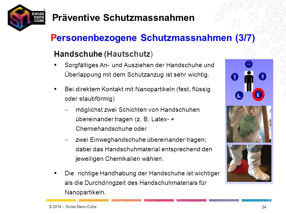 © 2014 - Swiss Nano-Cube 24 Personenbezogene Schutzmassnahmen (3/7) Handschuhe (Hautschutz)  Sorgfältiges An- und Ausziehen der Handschuhe und Überlappung mit dem Schutzanzug ist sehr wichtig.