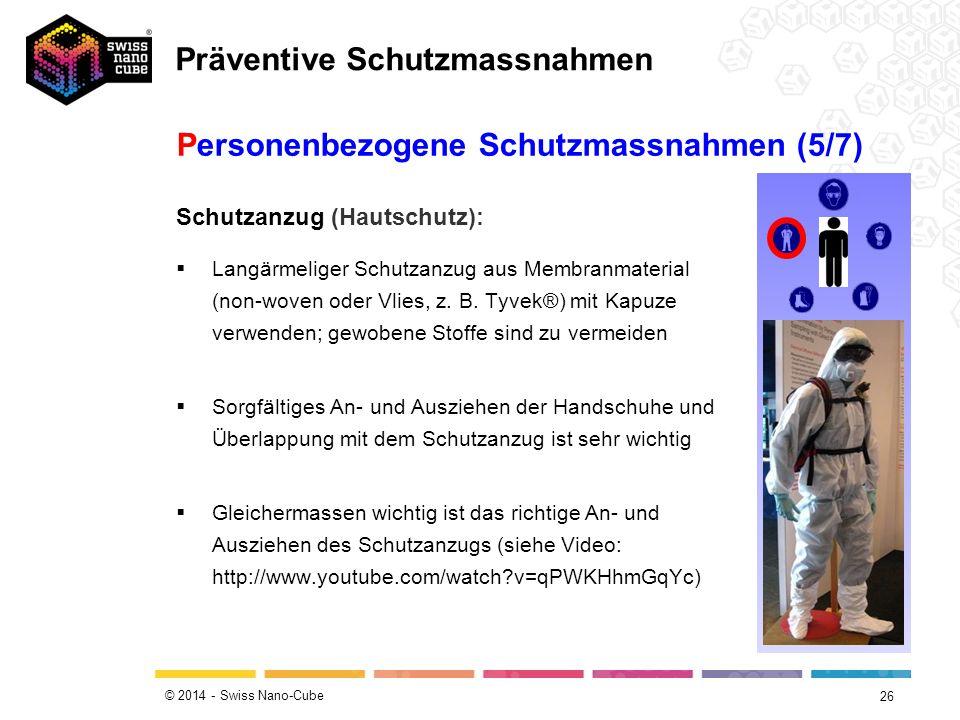 © 2014 - Swiss Nano-Cube 26 Schutzanzug (Hautschutz):  Langärmeliger Schutzanzug aus Membranmaterial (non-woven oder Vlies, z. B. Tyvek®) mit Kapuze