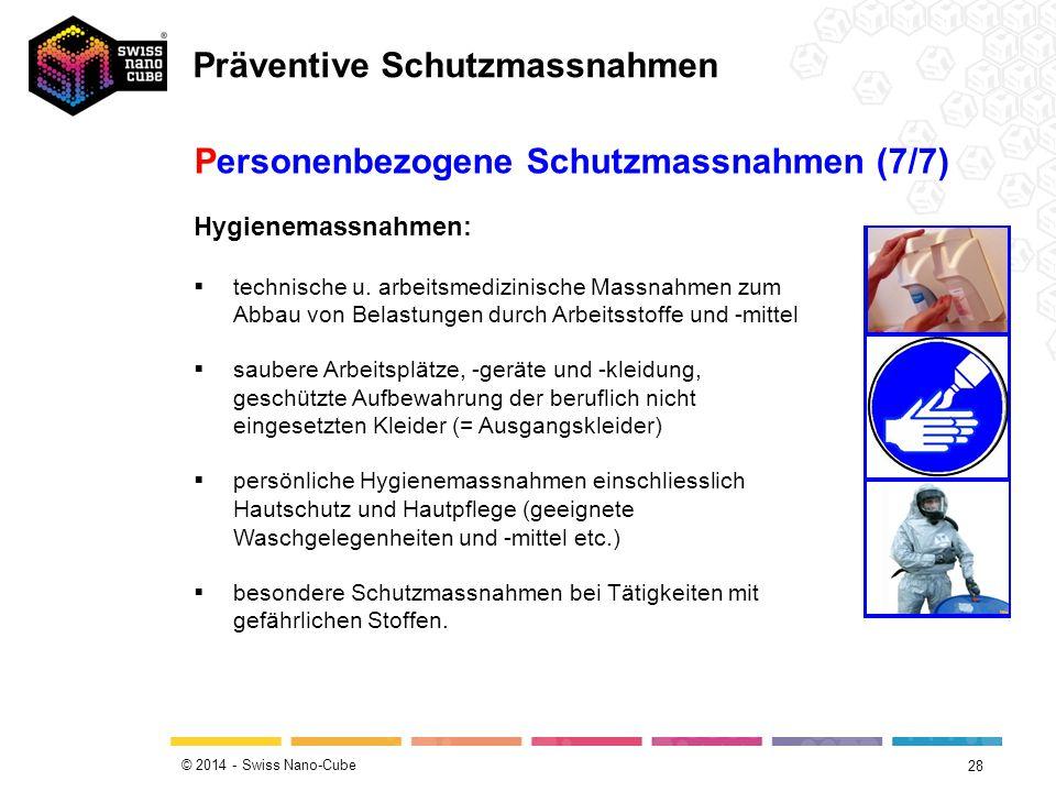 © 2014 - Swiss Nano-Cube 28 Personenbezogene Schutzmassnahmen (7/7)  technische u. arbeitsmedizinische Massnahmen zum Abbau von Belastungen durch Arb