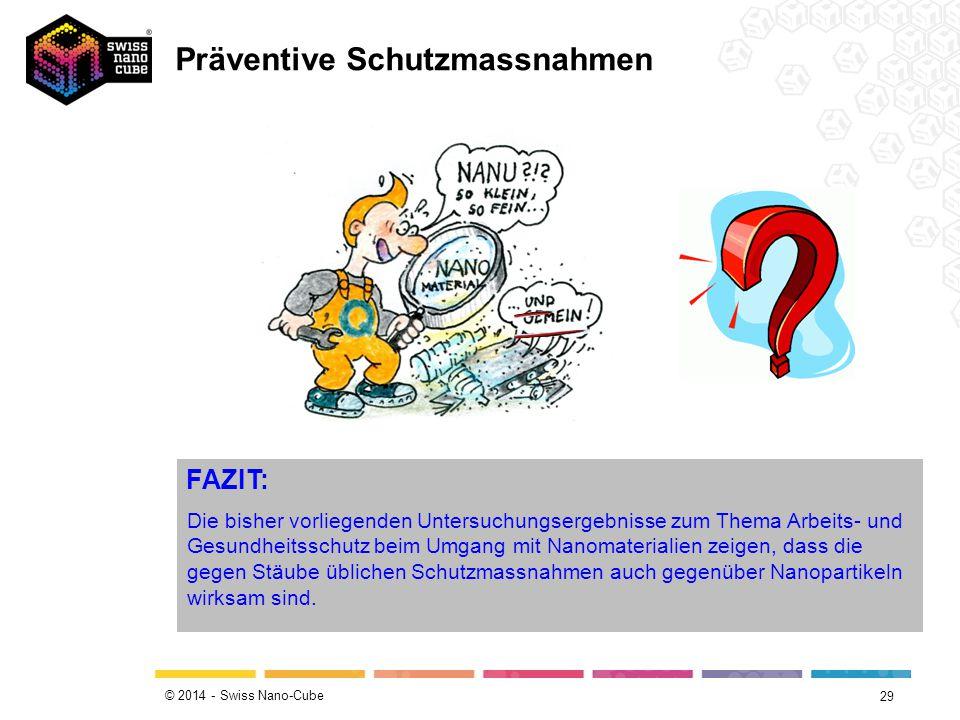© 2014 - Swiss Nano-Cube 29 FAZIT: Die bisher vorliegenden Untersuchungsergebnisse zum Thema Arbeits- und Gesundheitsschutz beim Umgang mit Nanomaterialien zeigen, dass die gegen Stäube üblichen Schutzmassnahmen auch gegenüber Nanopartikeln wirksam sind.