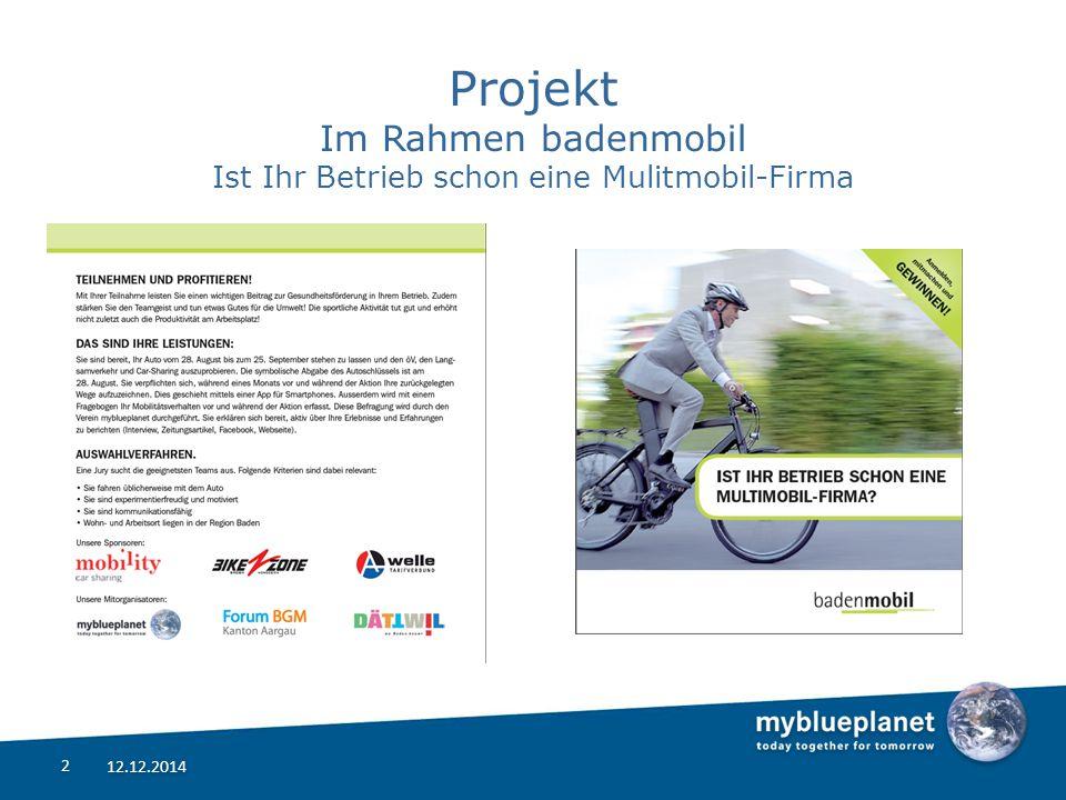 Projekt Im Rahmen badenmobil Ist Ihr Betrieb schon eine Mulitmobil-Firma 12.12.2014 2 2