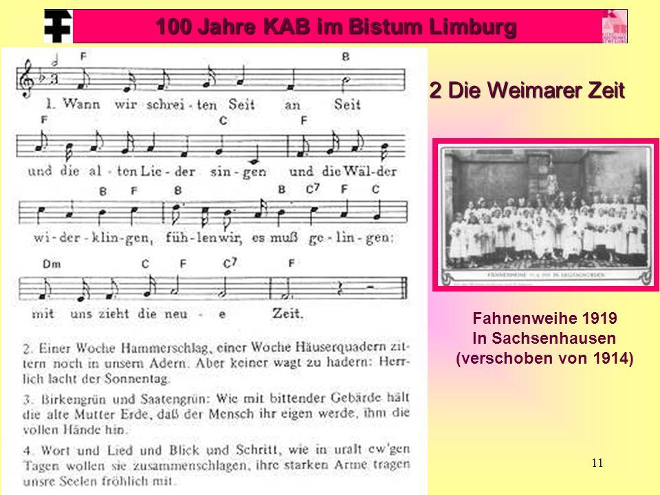 11 100 Jahre KAB im Bistum Limburg 2 Die Weimarer Zeit Fahnenweihe 1919 In Sachsenhausen (verschoben von 1914)