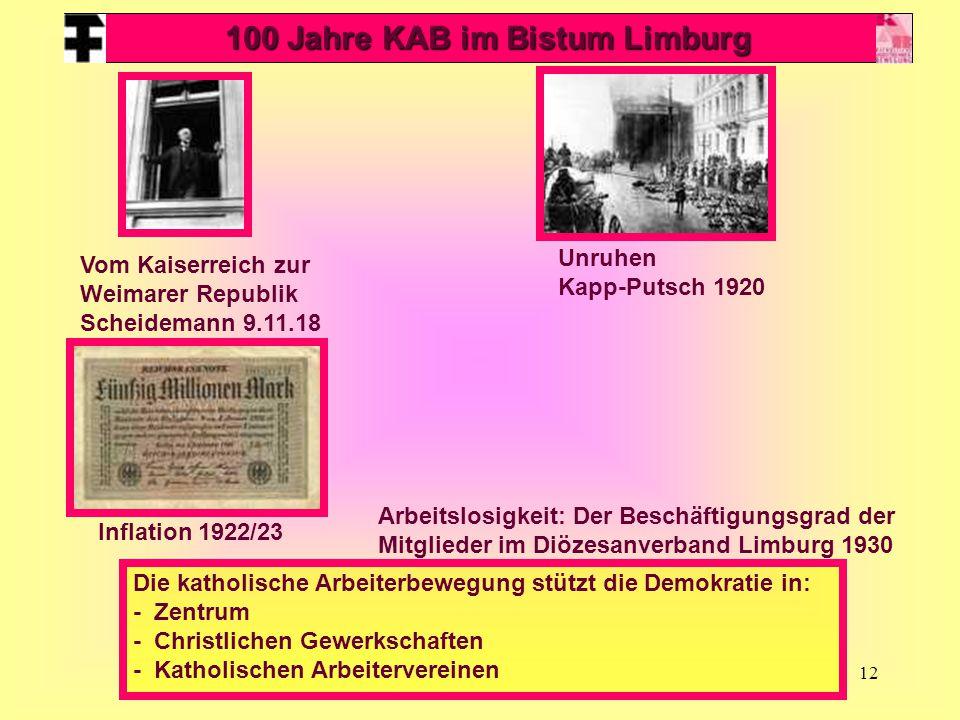 12 100 Jahre KAB im Bistum Limburg Vom Kaiserreich zur Weimarer Republik Scheidemann 9.11.18 Unruhen Kapp-Putsch 1920 Inflation 1922/23 Die katholisch