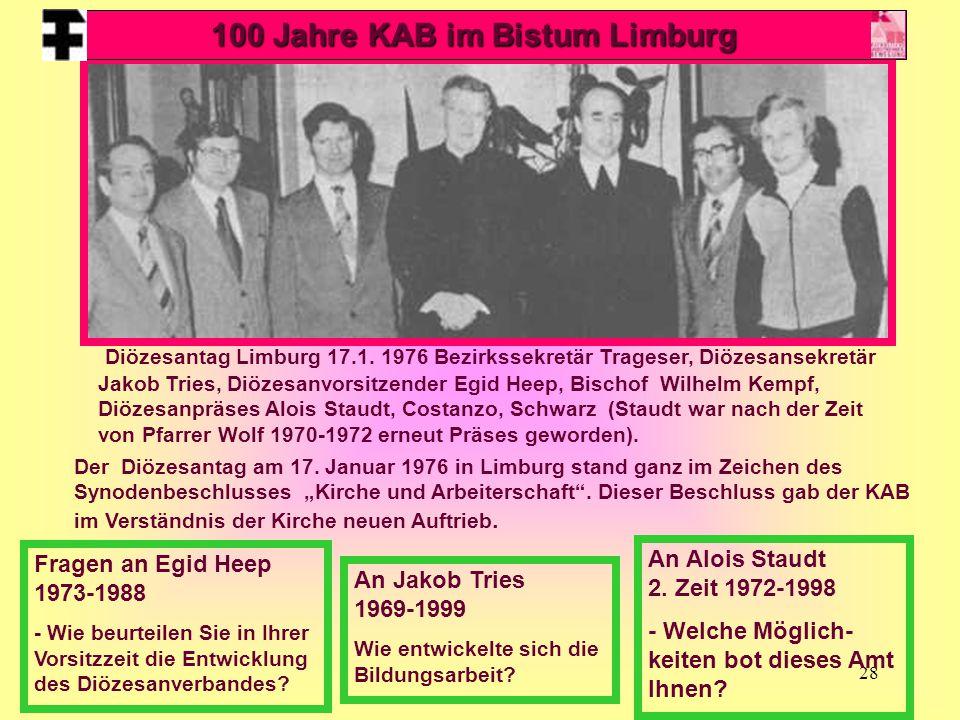 28 Diözesantag Limburg 17.1. 1976 Bezirkssekretär Trageser, Diözesansekretär Jakob Tries, Diözesanvorsitzender Egid Heep, Bischof Wilhelm Kempf, Diöze