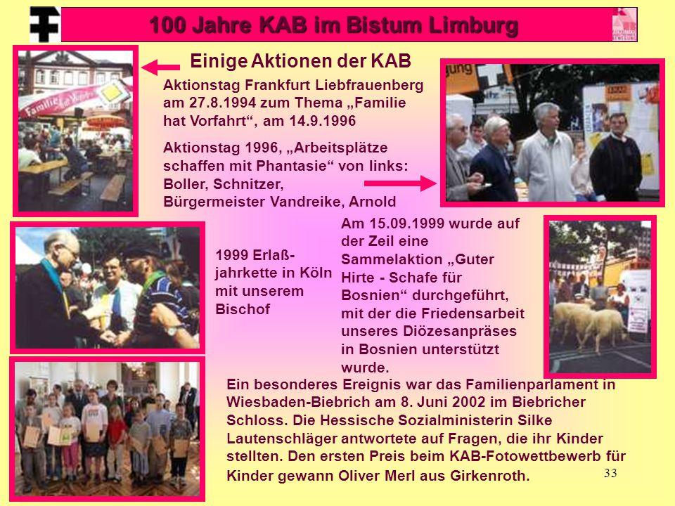 """33 Einige Aktionen der KAB Aktionstag Frankfurt Liebfrauenberg am 27.8.1994 zum Thema """"Familie hat Vorfahrt"""", am 14.9.1996 Aktionstag 1996, """"Arbeitspl"""