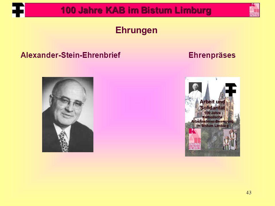 43 Ehrungen EhrenpräsesAlexander-Stein-Ehrenbrief 100 Jahre KAB im Bistum Limburg