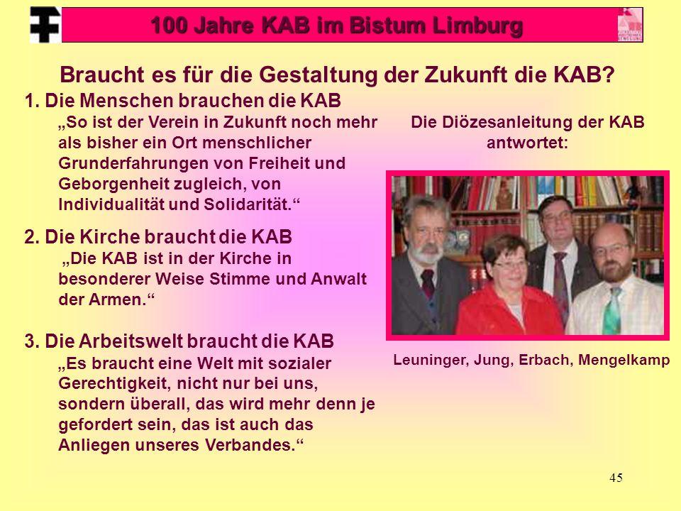 45 Leuninger, Jung, Erbach, Mengelkamp Braucht es für die Gestaltung der Zukunft die KAB.