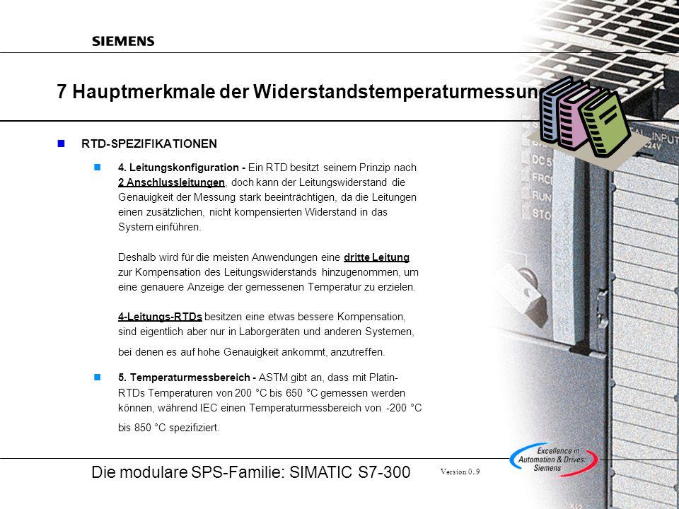 Die modulare SPS-Familie: SIMATIC S7-300 Version 0..9 7 Hauptmerkmale der Widerstandstemperaturmessung RTD-SPEZIFIKATIONEN 4.
