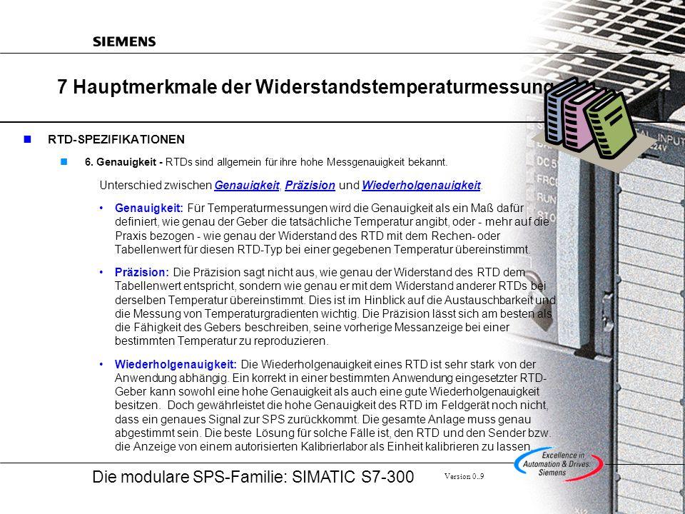 Die modulare SPS-Familie: SIMATIC S7-300 Version 0..9 7 Hauptmerkmale der Widerstandstemperaturmessung RTD-SPEZIFIKATIONEN 6.
