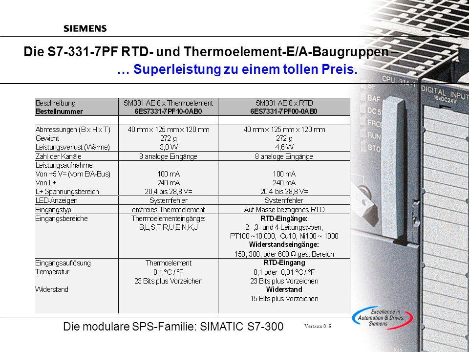 Die modulare SPS-Familie: SIMATIC S7-300 Version 0..9 Die S7-331-7PF RTD- und Thermoelement-E/A-Baugruppen – … Superleistung zu einem tollen Preis.