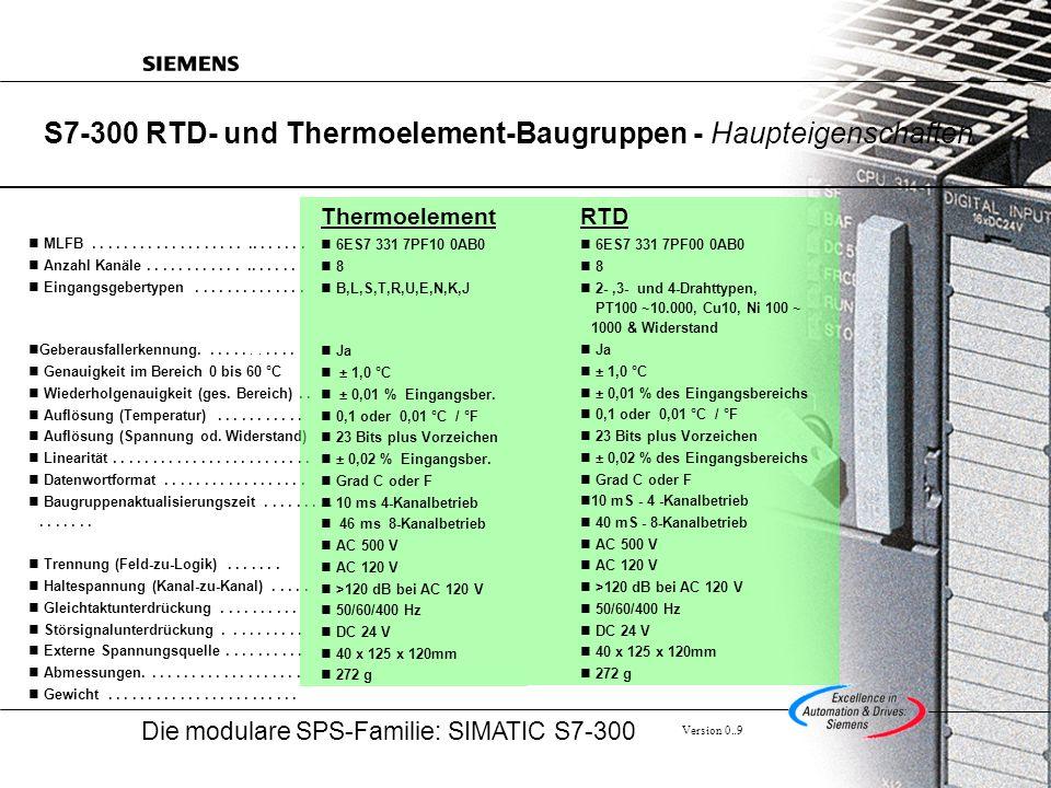 Die modulare SPS-Familie: SIMATIC S7-300 Version 0..9 Beispiele für die Farbkodierung von Thermoelementen Je nach Typ des Thermoelements sind die Anschlussleitungen farbig kodiert.