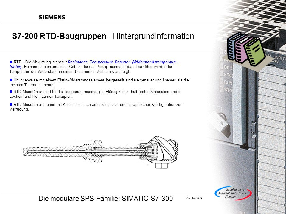 Die modulare SPS-Familie: SIMATIC S7-300 Version 0..9 S7-200 RTD-Baugruppen - Hintergrundinformation RTD - Die Abkürzung steht für Resistance Temperature Detector (Widerstandstemperatur- fühler).