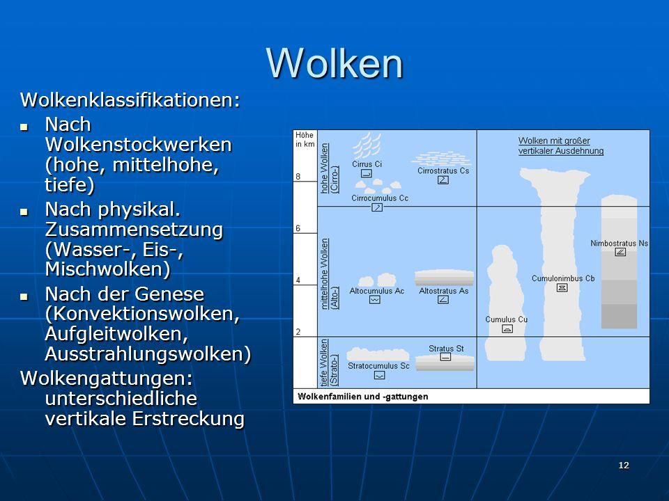 12 Wolken Wolkenklassifikationen: Nach Wolkenstockwerken (hohe, mittelhohe, tiefe) Nach Wolkenstockwerken (hohe, mittelhohe, tiefe) Nach physikal. Zus