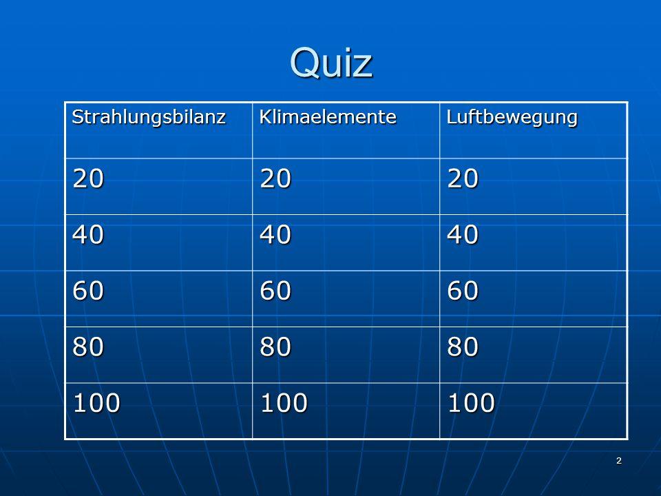 2 Quiz StrahlungsbilanzKlimaelementeLuftbewegung 202020 404040 606060 808080 100100100