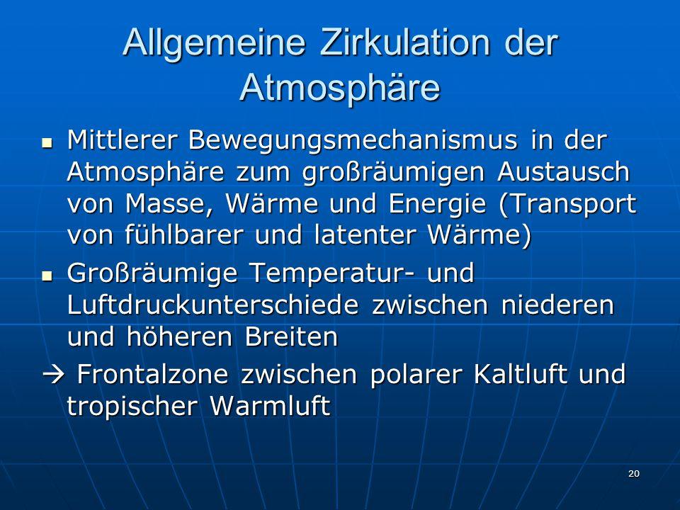 20 Allgemeine Zirkulation der Atmosphäre Mittlerer Bewegungsmechanismus in der Atmosphäre zum großräumigen Austausch von Masse, Wärme und Energie (Tra