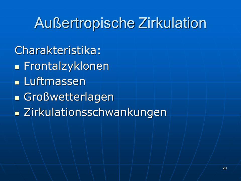 28 Außertropische Zirkulation Charakteristika: Frontalzyklonen Frontalzyklonen Luftmassen Luftmassen Großwetterlagen Großwetterlagen Zirkulationsschwa